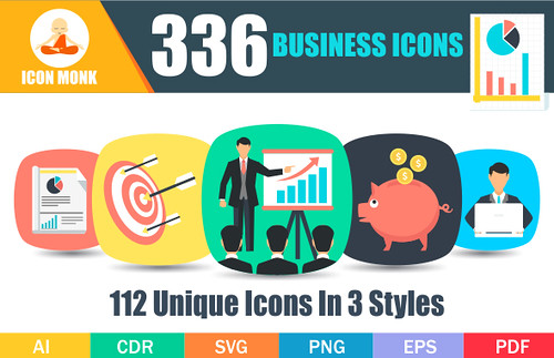 336 Flat Business Icons