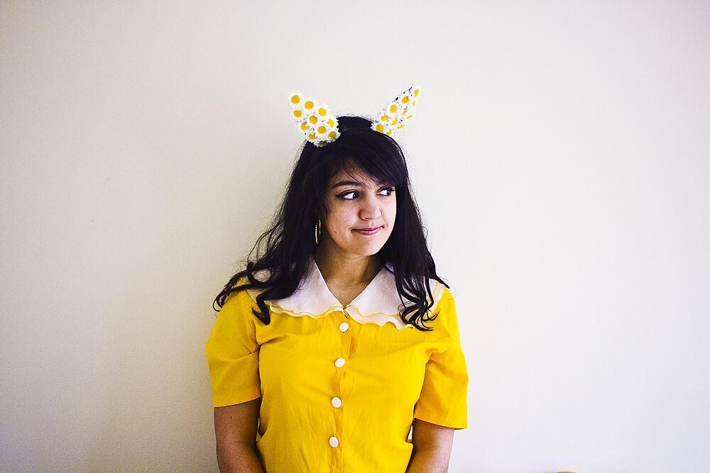 easter, easter girl, vegan easter, easter bunny, bunnygirl, easter bunny girl, easter tidings, happy easter, happy vegan easter, yellow, vintage yellow, floral bunny ears, floral rabbit ears, flower bunny ears, flower rabbit ears, yellow and white rabbit
