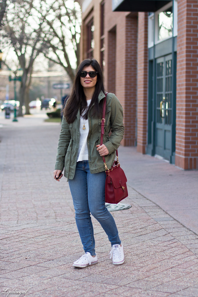 field jacket, jeans, converse sneakers, red coach bag-1.jpg