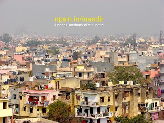 A beautiful panorama style view of Tilak Nagar from the seventh floor of Sat Manjila Mandir