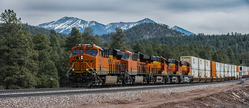 BNSF Train beneath San Francisco Peaks