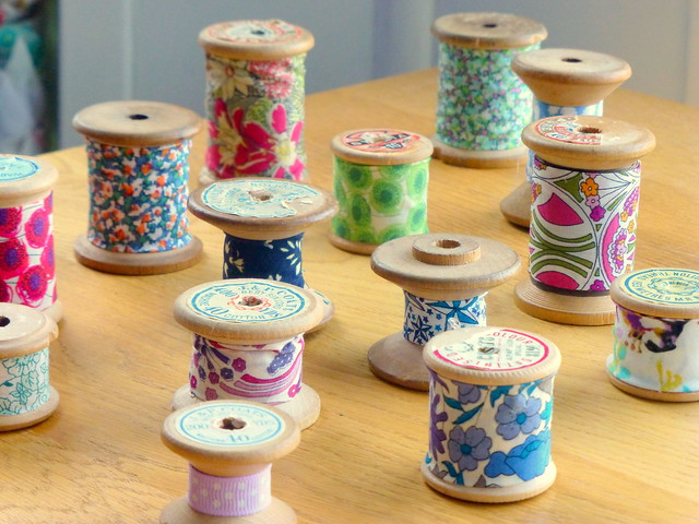 Old Spools clothed in Liberty scraps