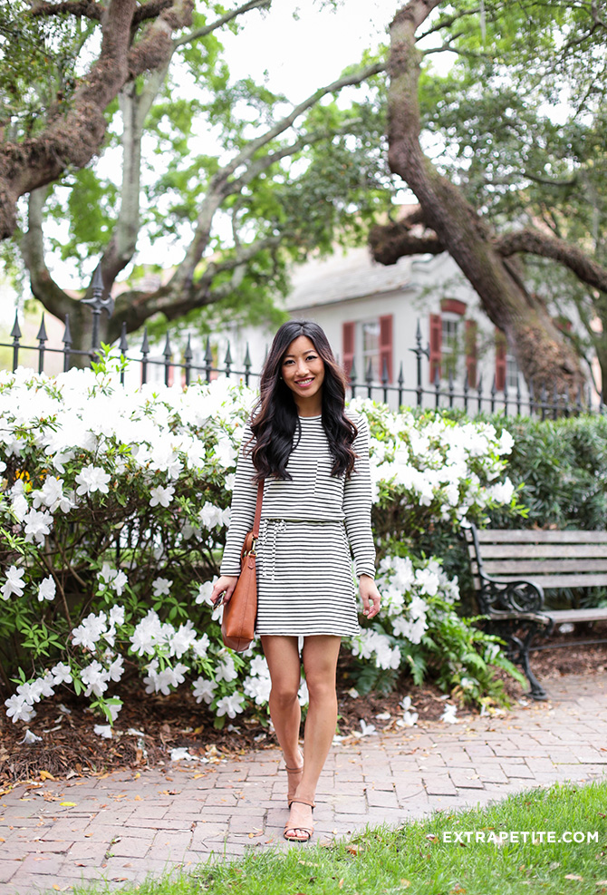 topshop striped dress casual travel outfit_charleston college