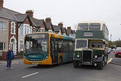New and old: Enviro 200 meets Leyland PD2/Massey at Barry, south Wales