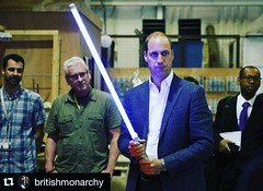 Typical day at the office //  Prince William, Duke of Cambridge during a tour of the Star Wars sets at Pinewood studios on April 19, 2016 in Iver Heath, England. . . .  #PrinceWilliam  #DukeofCambridge #PrinceWilliamDukeofCambridge  #RoyalFamily  #EarlofS