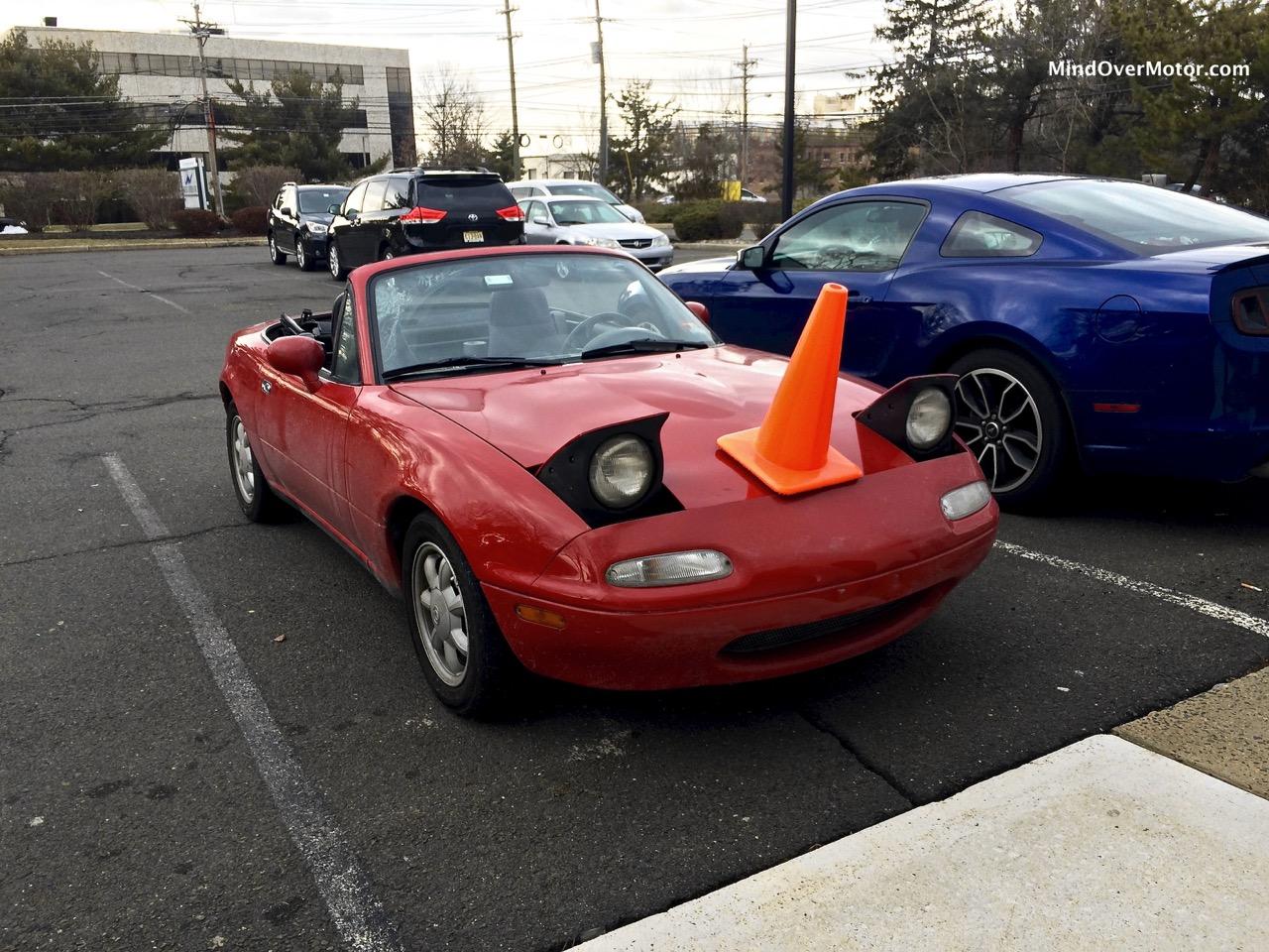 Miata With Cone on its Head