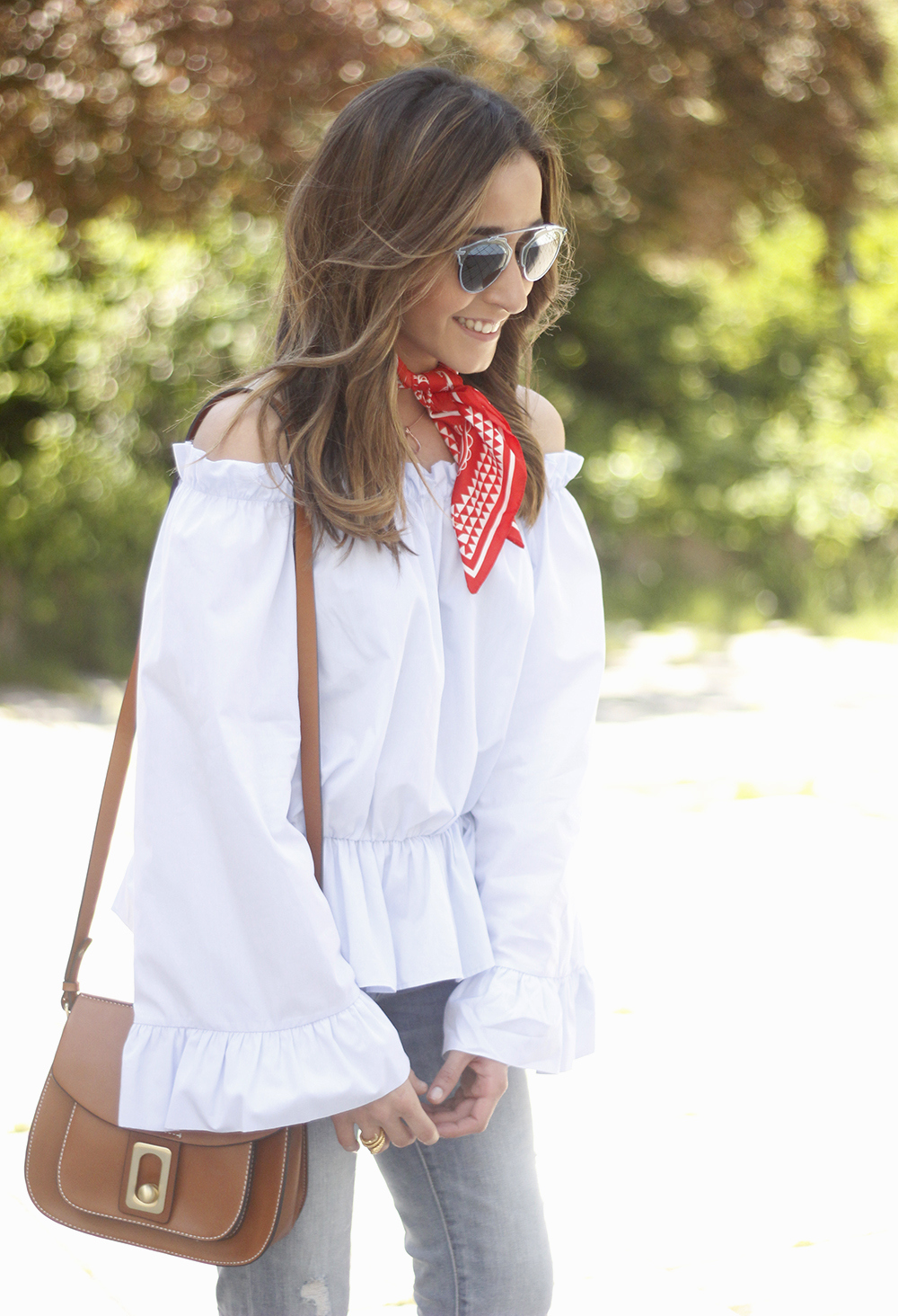 off the shoulders top with bell sleeves red bandana nude heels dior sunglasses spring outfit17