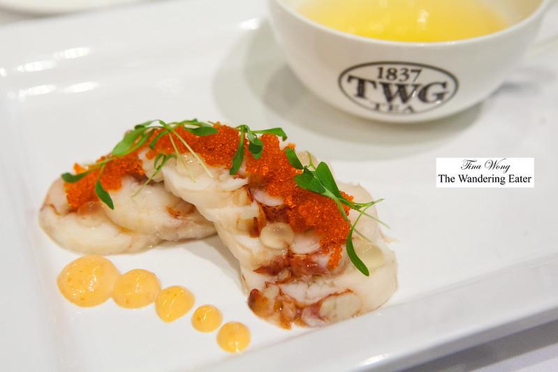 Atlantic lobster torchon with lemon bush tea, tobilko aioli and yuzu gel