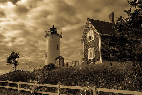 trees light sky lighthouse house seascape storm building monochrome sepia architecture clouds rural fence landscape lumix mood cloudy outdoor path capecod massachusetts champs stormy panasonic ciel arbres lumiere fields woodshole moor nuages paysage maison falmouth phare barriere chemin orage immeuble lande nuageux bucolique champetre nobskapointlight orageux armosphere gx7 micro43 mirrorlesscamera