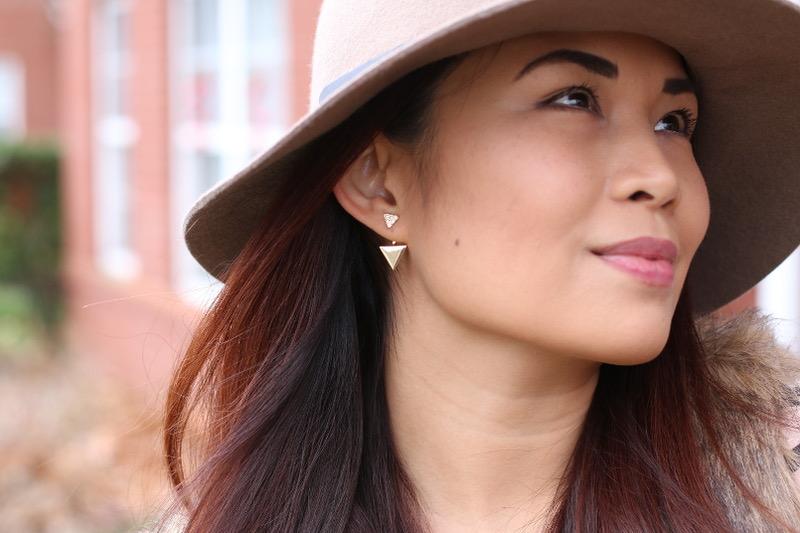 bauble bar earrings, ear jackets, studs, triangle gold earrings