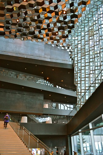 The building is amazing. It's a new concert hall built in 2011. The interior seems to have no right angles, with mirrored honeycomb panels covering the ceiling and multi-dimensional cube panelled windows.