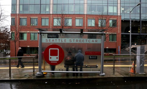 Attractive graphic treatment on the transit shelters for the Seattle Streetcar