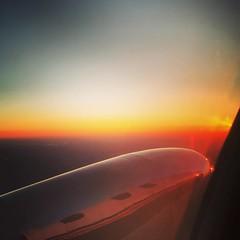 Headed home. #airplane #missouri #columbia #west #sunset