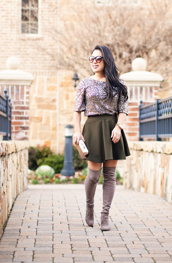 cute & little blog | sequin embellished top, olive skater skirt, gray suede stuart weitman highland otk boots | date night party outfit