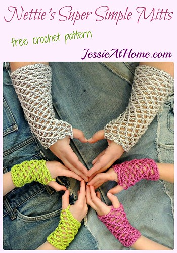 Nettie's Super Simple Mitts - free crochet pattern by Jessie At Home