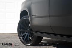 Matte Black GMC Denali with 22in Black Rhino Traverse Wheels and Bridgestone Dueler Tires