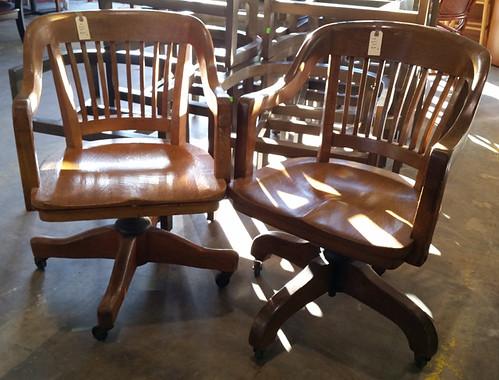 Oak swivel chairs