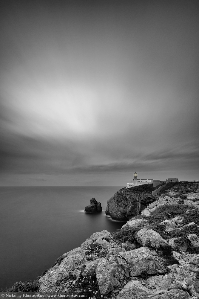 Black and white image of Lighthouse at Cape St. Vincent