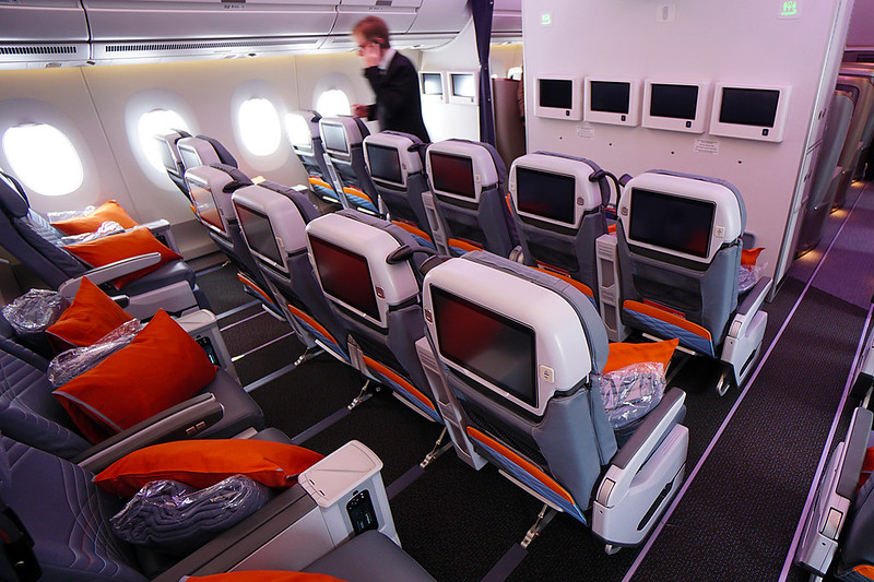 Singapore Airlines' premium economy class onboard the A350