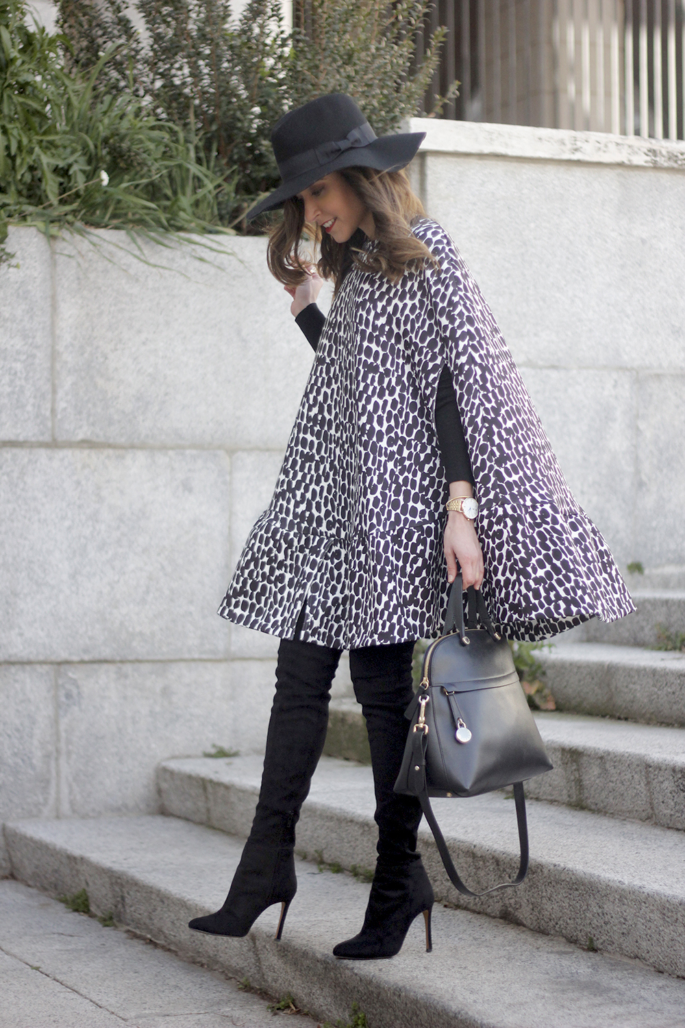black and white outfit cape dress over the knee boots furla handbag style16