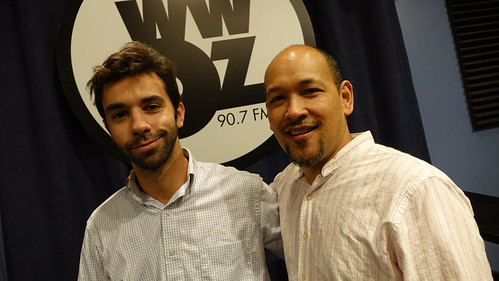 Kris Tokarski and Evan Christopher at WWOZ.  Photo by Charlie Steiner