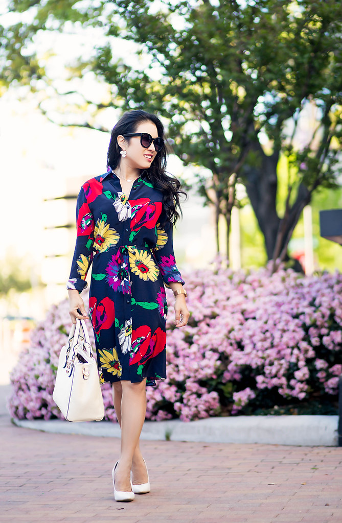 cute & little blog | petite fashion | tucker nyc floral shirt dress, white pumps, white satchel, kendra scott necklace | #ladieslovetucker