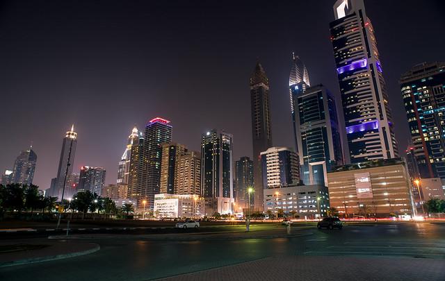 Downtown Dubai night skyline
