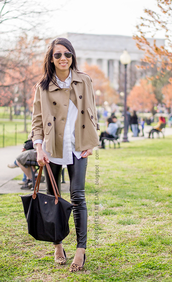 camel trench cape, white button up shirt, faux leather pants, gold jewelry, leopard flats