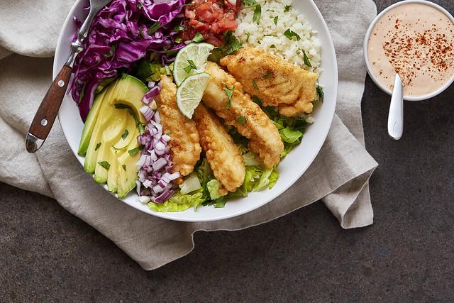 Grain-free Baja Fish Taco Bowl {Paleo}
