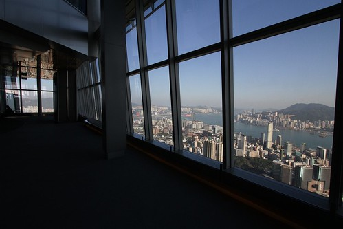 Looking out from the Sky100 observation deck