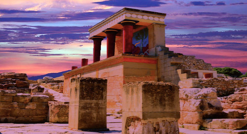 sunset red sky building stone architecture canon outdoors temple design artwork ancient focus ruins colours stonework traditional steps palace crete pillars heraklion minoan spence canon6d angspence canon24–105l