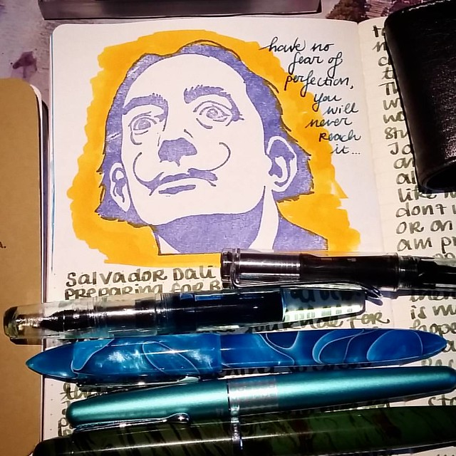 A great quote to start the week. #salvadordali #quote #journal #Fpgeeks #FPN #fountainpennetwork #lamy #franklinchristoph #pilotretropop #noodlersneponset #meditativewriting #qotd #dali #writinginstruments #toolsofthetrade #edisonnouveaupremiere