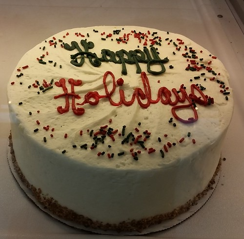Happy Holidays decorated cake from SusieCakes.