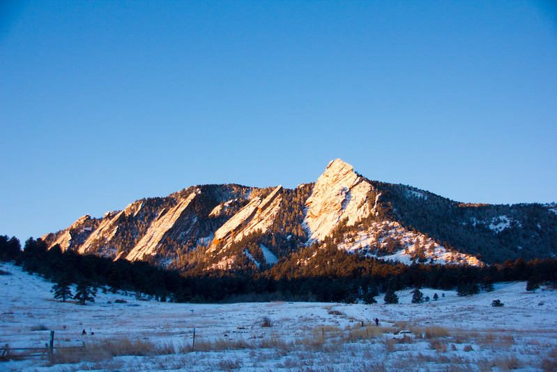 Boulder Flatirons at Sunrise with snow