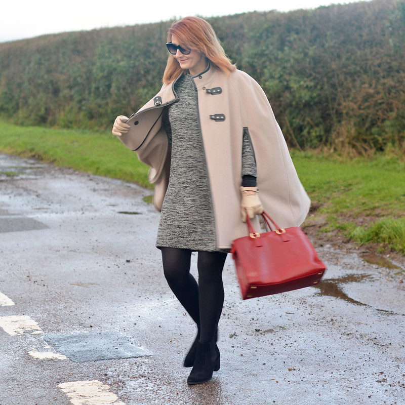 Winter Style | Camel cape, sweater dress, red tote, black tights