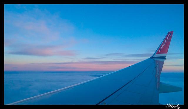 Laponia viaje Helsinki Rovaniemi - Atardecer desde el avión a Rovaniemi