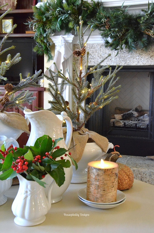 Winter vignette of ironstone and lighted trees - Housepitality Designs