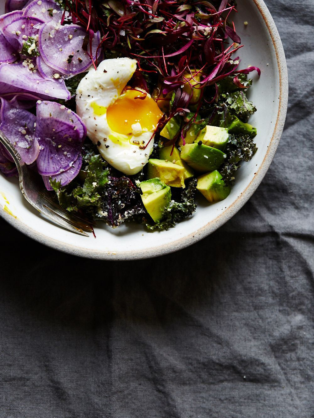 Raw Kale Caesar with Beet Microgreens and Poached Egg
