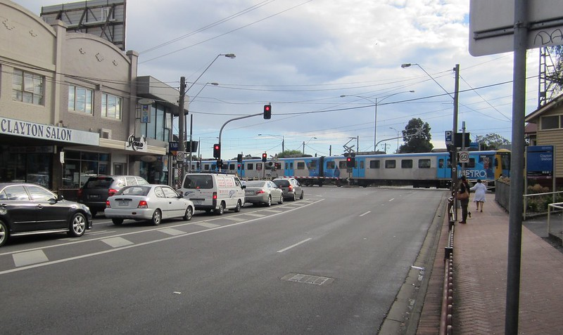 Clayton level crossing, April 2012