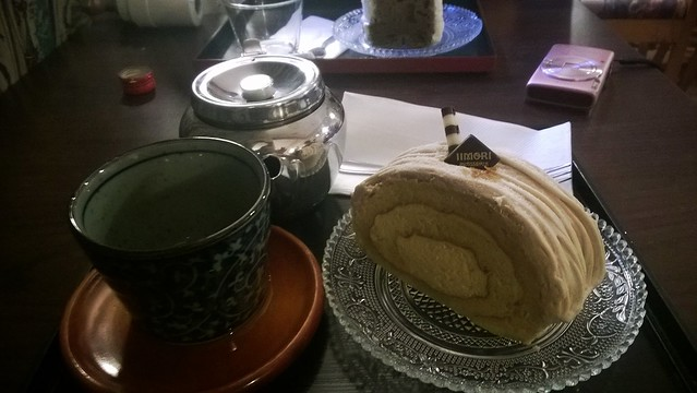 That's a Mont Blanc swiss roll. Very sweet, very tasty with green tea.