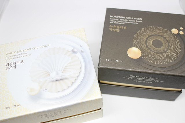 The Face Shop White Ginseng Collagen Pearl Capsule Cream and Nokyong Collagen Contour Life Capsule Cream