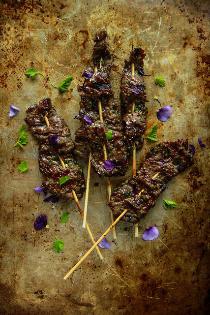 Garlic Mustard Maple Chili Beef Skewers from HeatherChristo.com