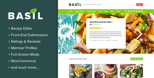 Basil Recipes v1.4.9 – A Recipe-Powered WordPress Theme