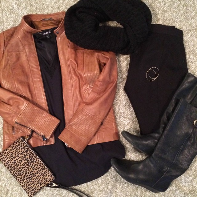 camel leather jacket + black tunic + black infinity scarf + black leather boots + black pixie pants + cheetah clutch + hoop earrings