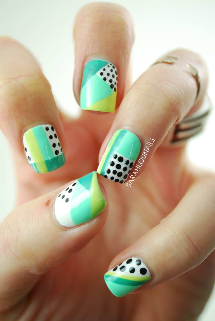Mint Geometric Nails 1