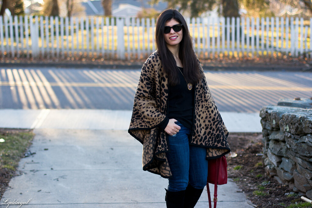 leopard poncho, black tee, black boots, red coach bag-1.jpg
