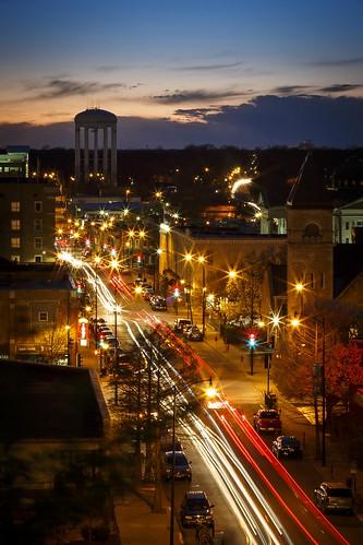 Notley Hawkins Photography, Downtown Columbia Missouri, Walnut Steet, architecture, long exposure, light trails