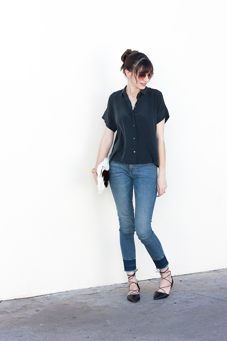 Everlane Silk Shirt, Lace Up Flats