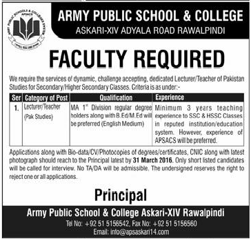 Jobs Army Public School And College 03-25-2016
