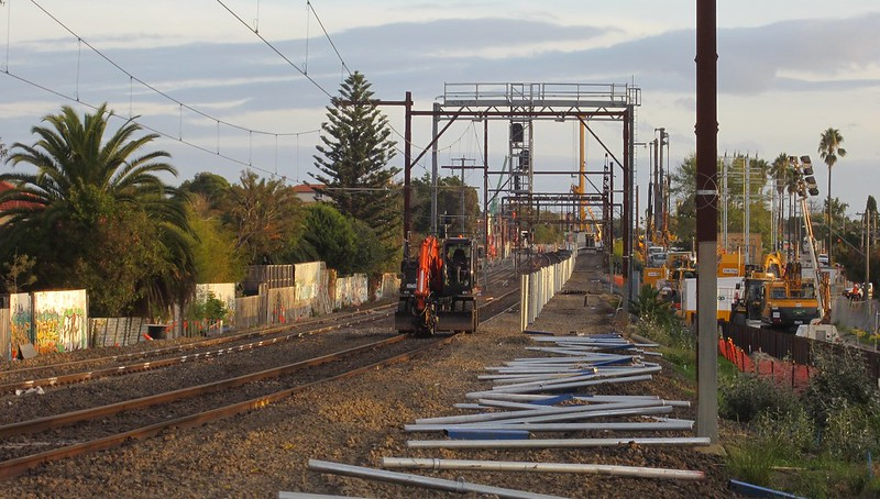 At Mckinnon, looking towards Bentleigh during level crossing removal works